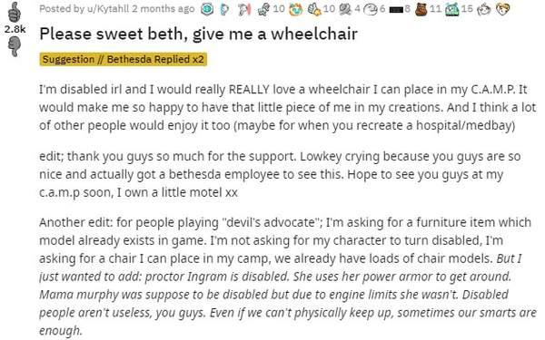 殘疾玩家請求《輻射76》加入輪椅 B社在《鋼鐵兄弟會》中幫她如愿以償