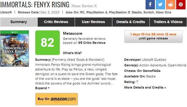 XSX《渡神纪:芬尼斯崛起》媒体评分解锁30家媒体给予好评 M站均分82