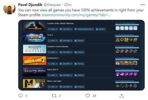 """逼迫症患者福音!Steam社区撑持显现""""完善通关游戏"""" 可展现完善战绩"""