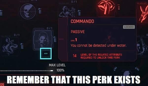 玩家吐槽《2077》水下匿踪技能无卵用