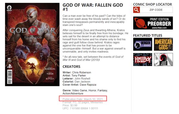 曝漫画《战神:堕落之神》明年3月发售 官方页面更新