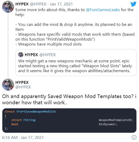 《堡垒之夜》武器模组细节爆料 可能会对玩家的武器有作用