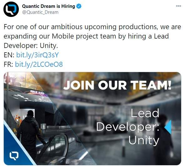 《底特律:变人》厂商招聘Unity开发人员 稍后将会公布更多情报