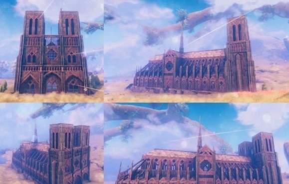 《英灵神殿》中玩家用木头盖出巴黎圣母院 与原建筑相似度极高