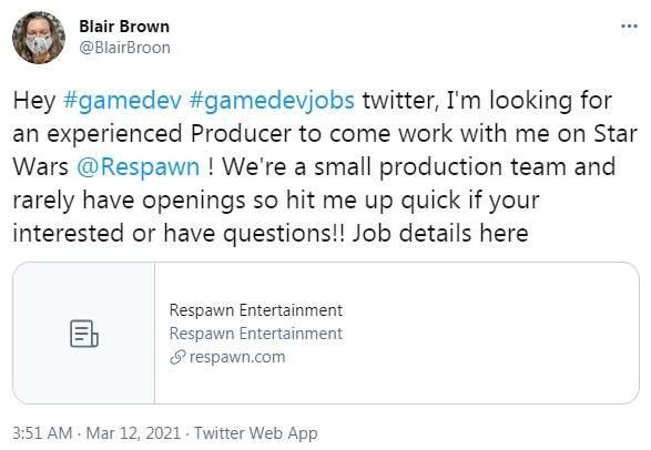 重生招聘制作人 或将开发《星战绝地:组织陨落》续作